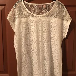 Chico's Lace and. Cotton White Top